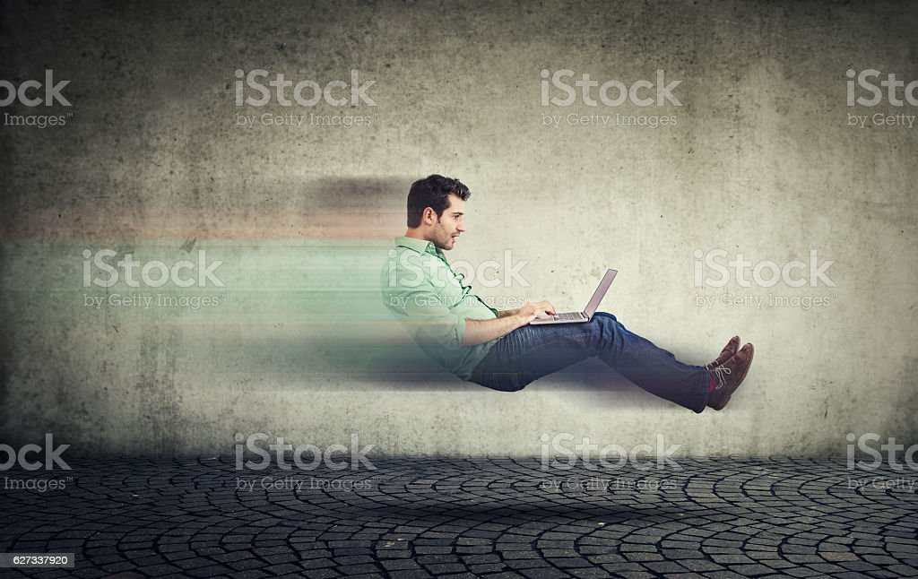 Fast internet. Autonomous self driving car technology stock photo