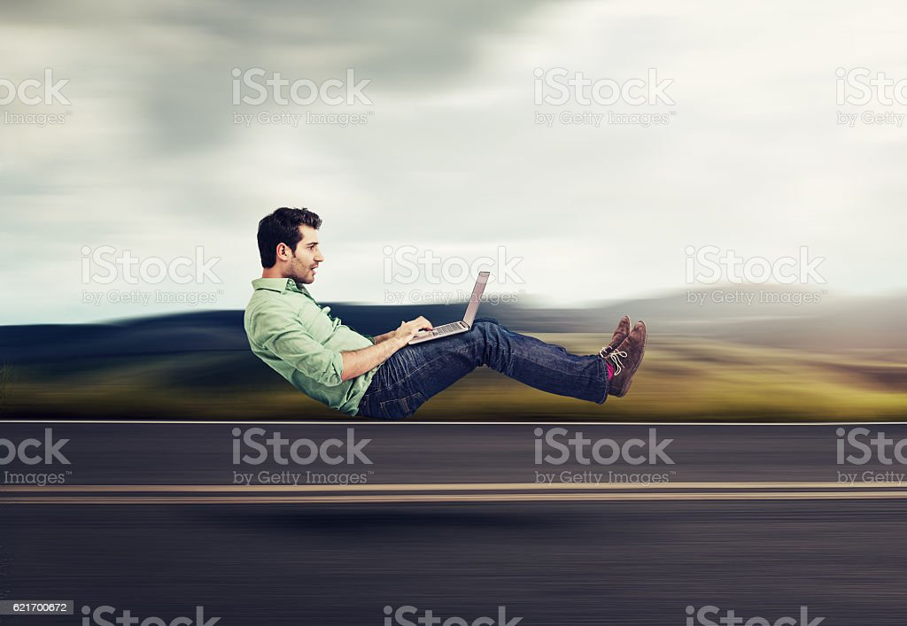 Fast internet concept. Autonomous self driving car technology stock photo