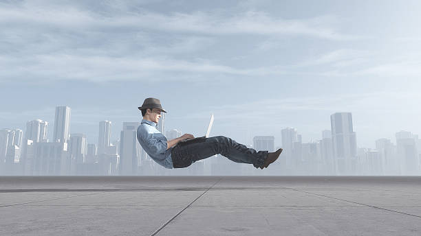 fast levitating businessman - effortless stock photos and pictures