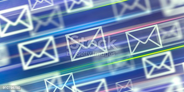 Abstract futuristic blurred background with envelope symbols (fast mail and modern communication concept)