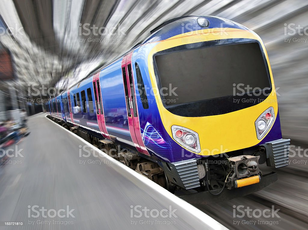 Fast Modern Passenger Train with Motion Blur stock photo