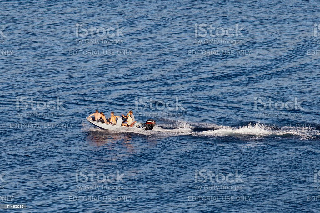 Fast Motorboat with Its Wake at Aegean Sea royalty-free stock photo