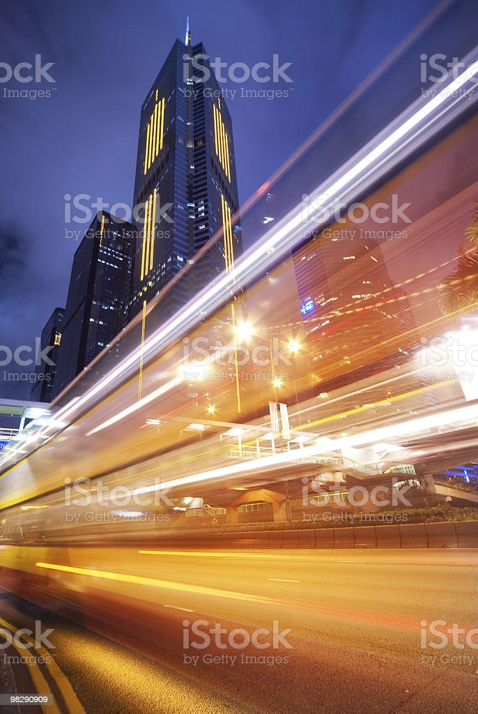 Fast moving bus at night royalty-free stock photo