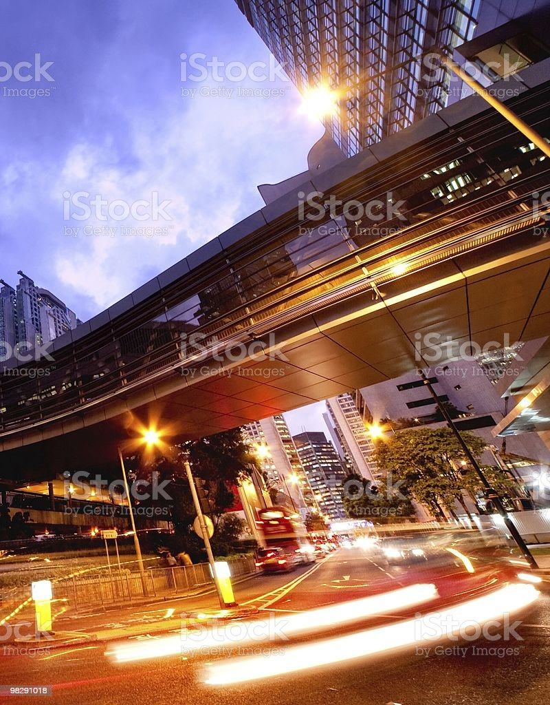 Fast moving cars at night royalty-free stock photo