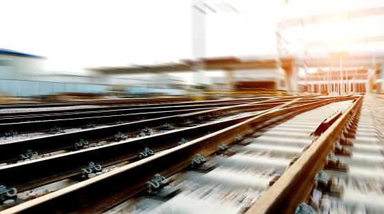 Fast moving forward on railroad track