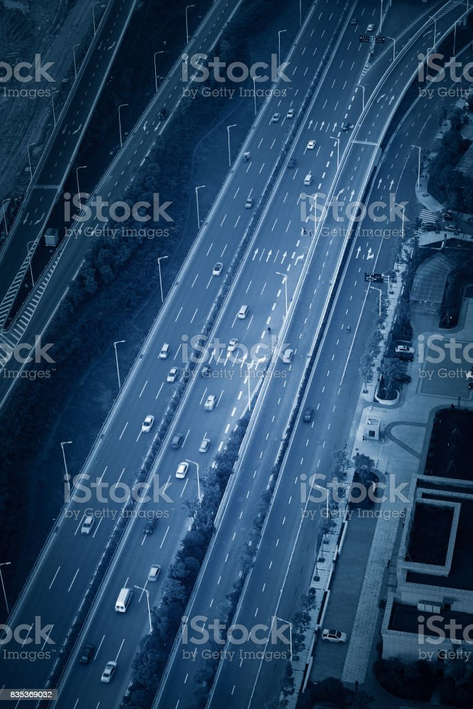 Fast moving Vehicles on Busy Motorway at the Morning stock photo