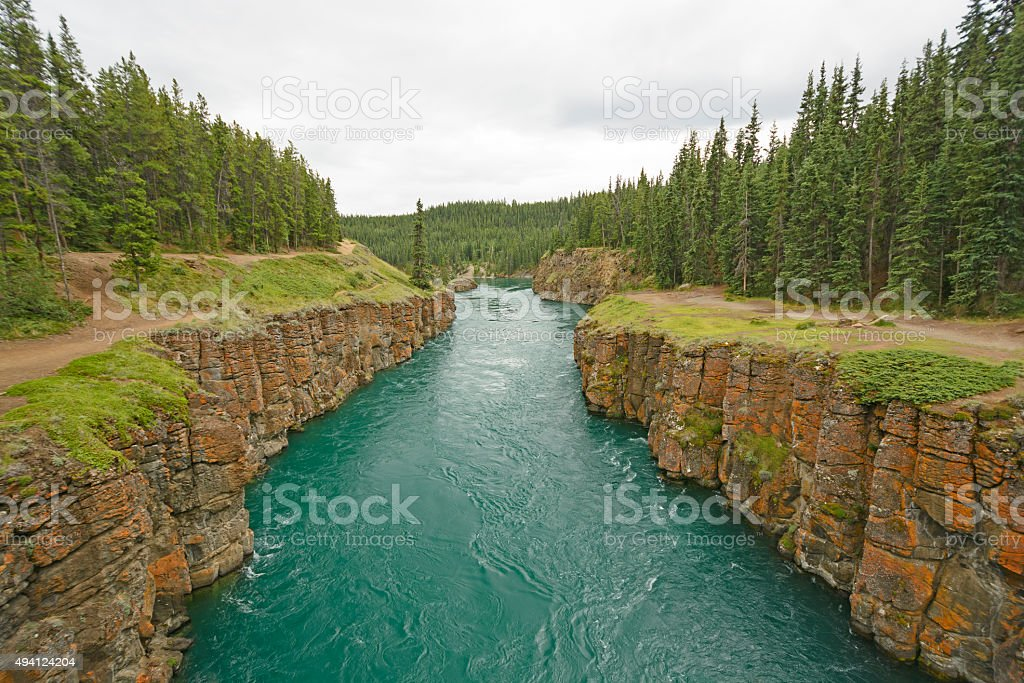 Fast Moving Water in a Remote Canyon stock photo