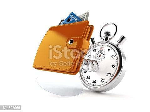Wallet with stopwatch isolated on white background