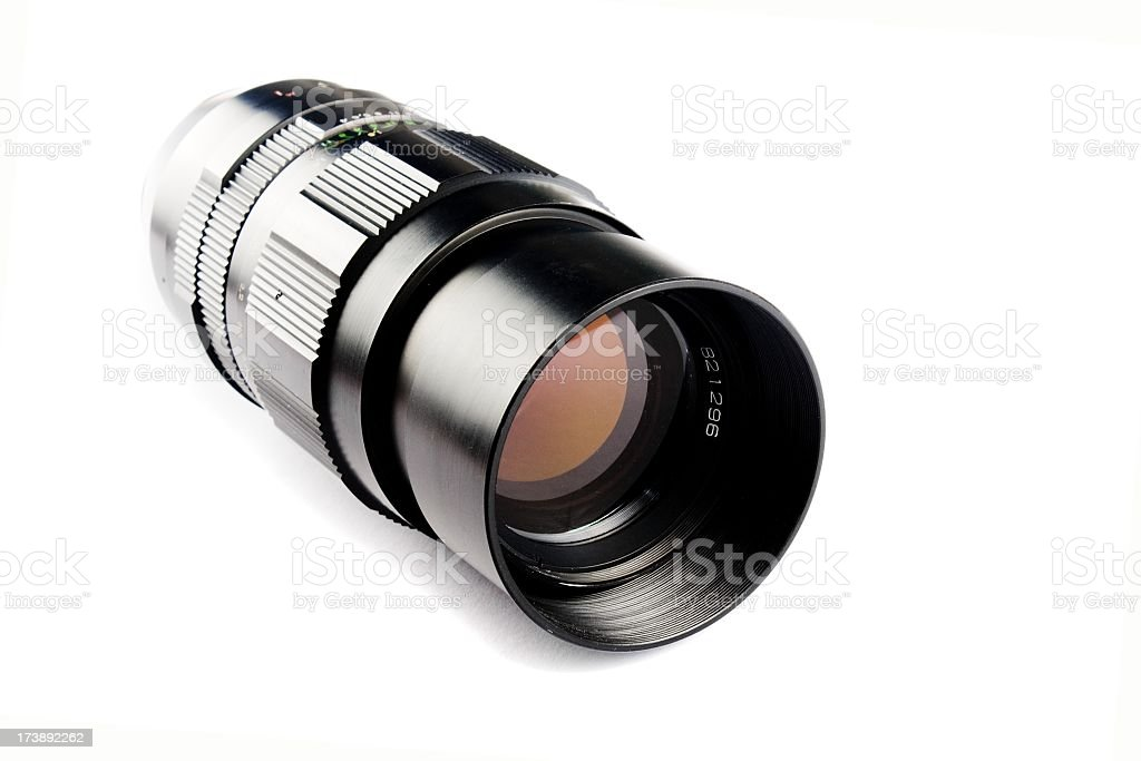 Fast sharp prime lens on white background royalty-free stock photo