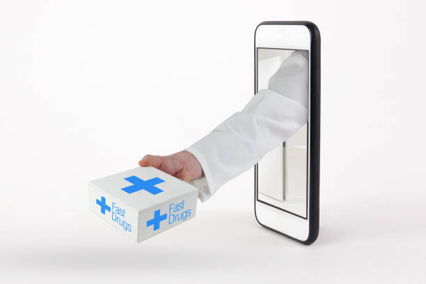 Fast shipping drugs with arm coming out of the phone - foto stock