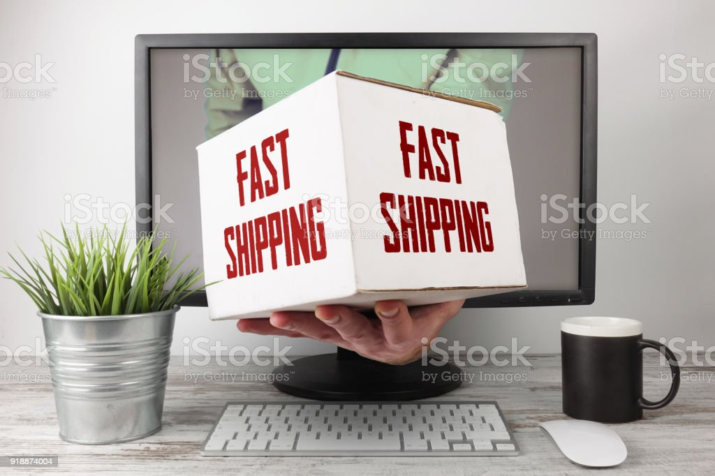 Fast Shipping Express Delivery Online stock photo
