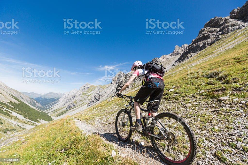 Fast Single Trail Downhill at Welschtobel, Switzerland stock photo