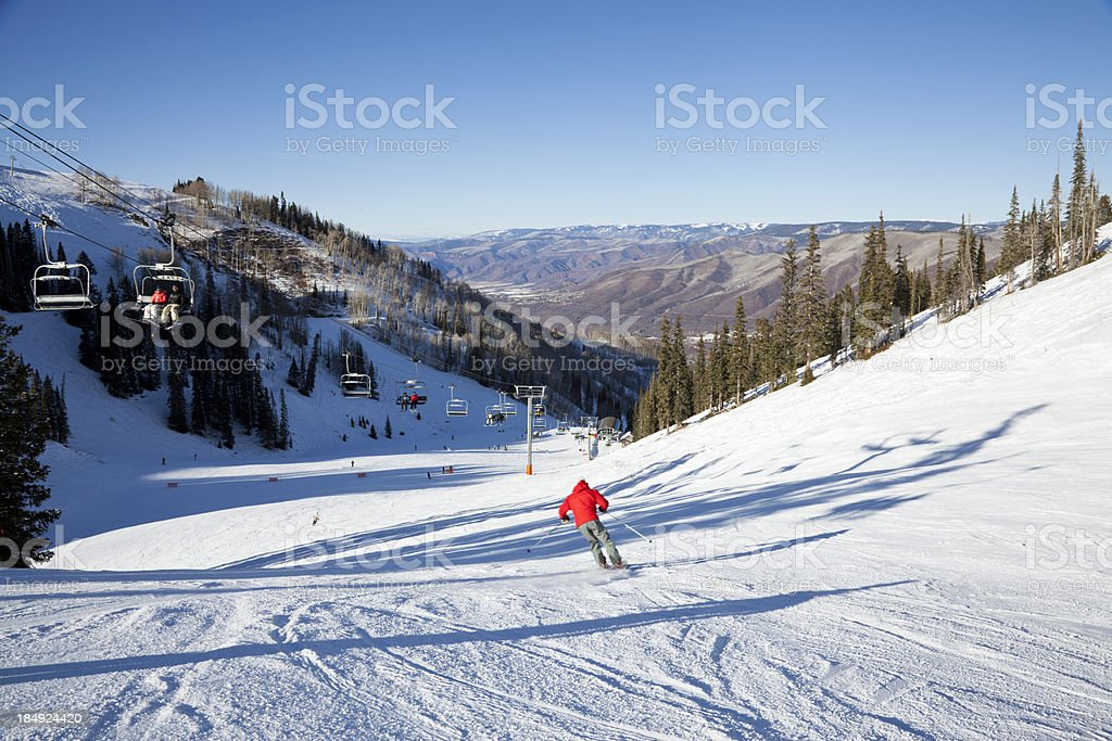 Fast Skier at Aspen stock photo