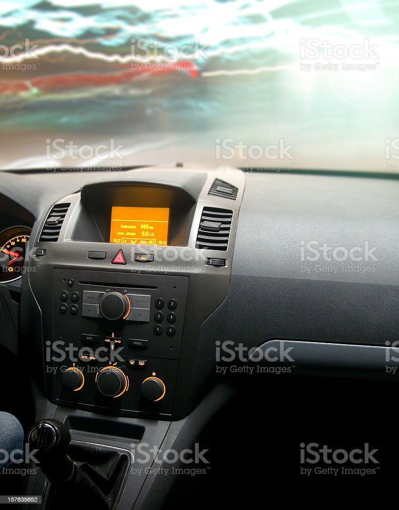 Fast speed night car driving on the light traffic. Interior royalty-free stock photo