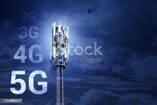 istock 5G Fast speed Wireless internet connection communication mobile technology concept - image with copy space 1154880247