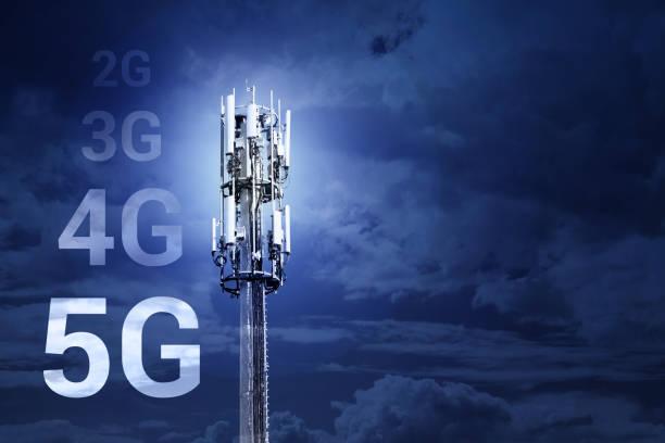 5G Fast Speed Wireless Internet connection Communication mobile Technologie-Konzept-Bild mit Kopierplatz – Foto