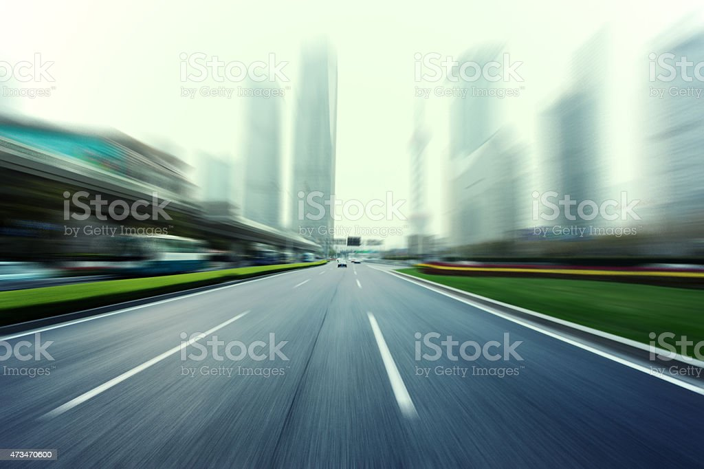 Fast speepd view on urban road in modern city stock photo