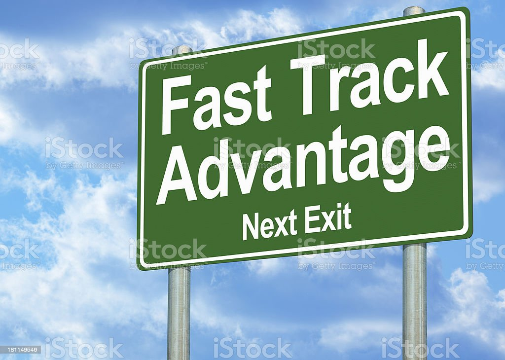 Fast Track Advantage Highway Sign royalty-free stock photo