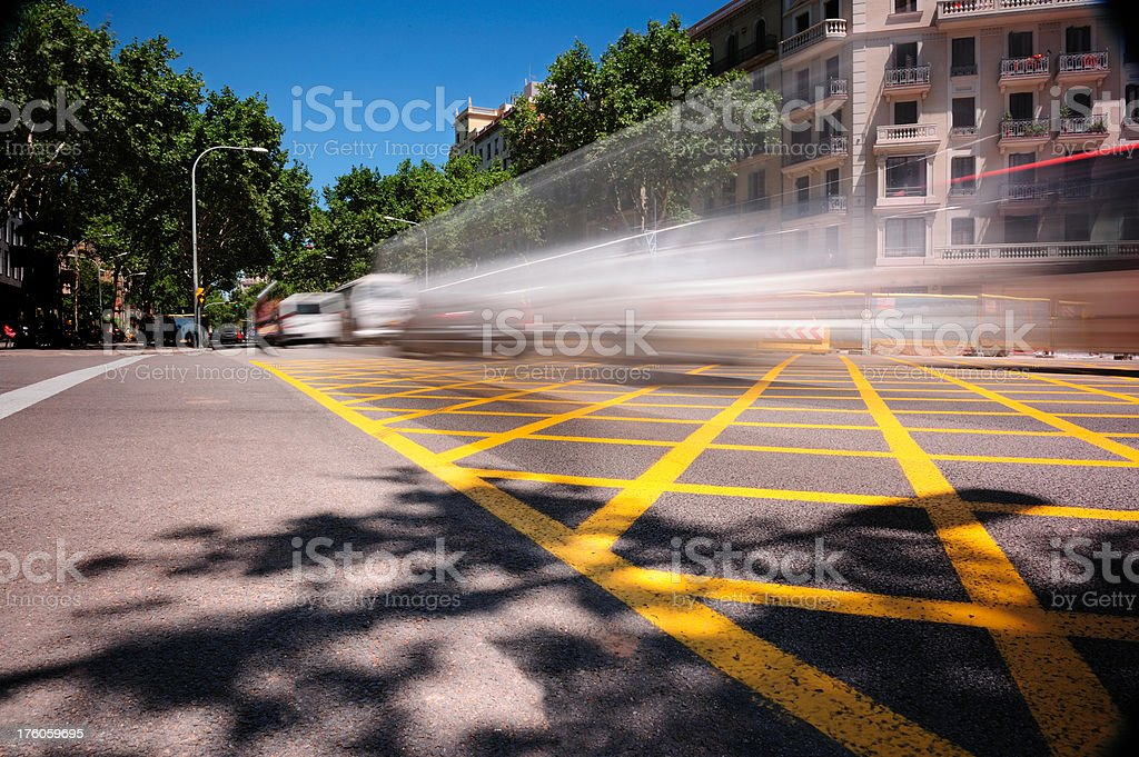 Fast traffic in junction. Car, taxi bus. royalty-free stock photo