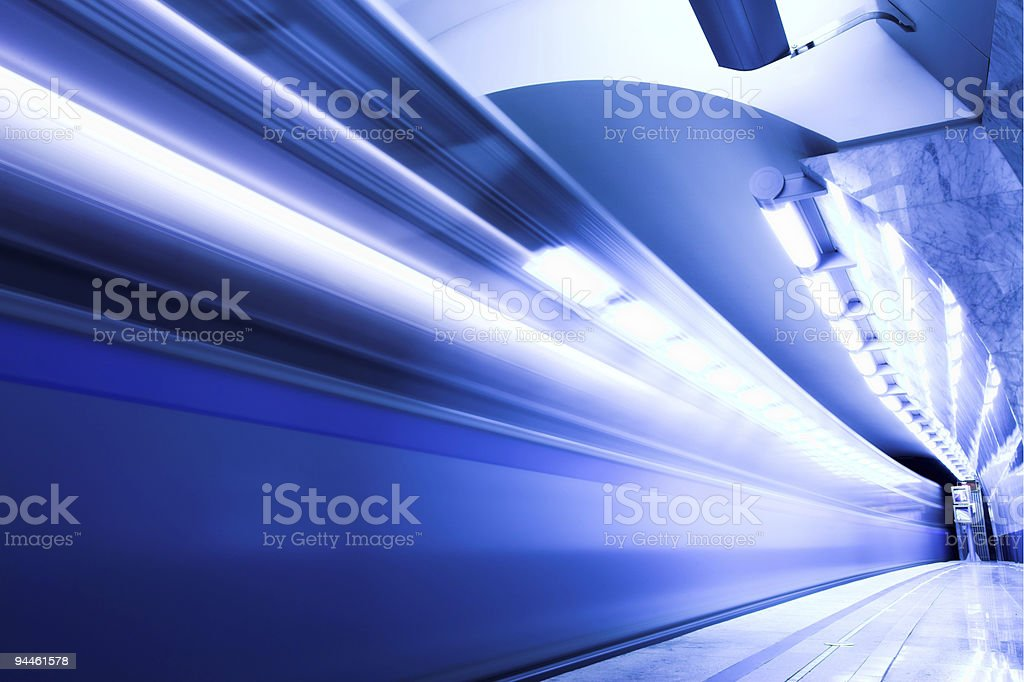 Fast train in subway royalty-free stock photo