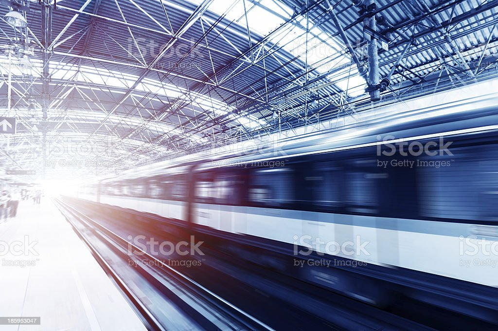 Fast train motion blurred picture stock photo