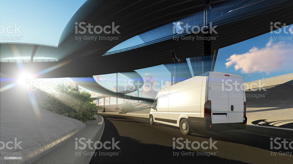 Fast transport with bridge structure stock photo