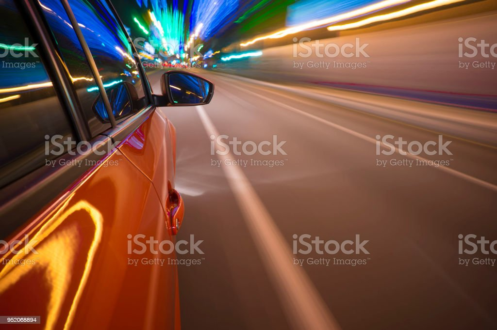 Fast vehicle moving on Motion blur background stock photo
