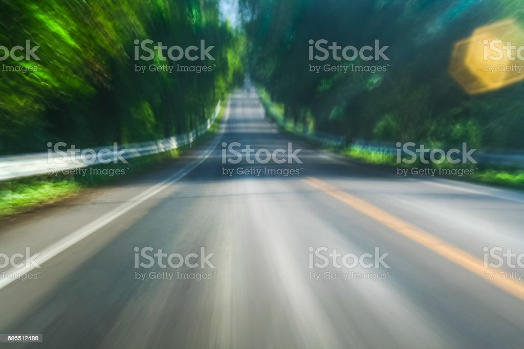 Fast view of highway from vehicle stock photo