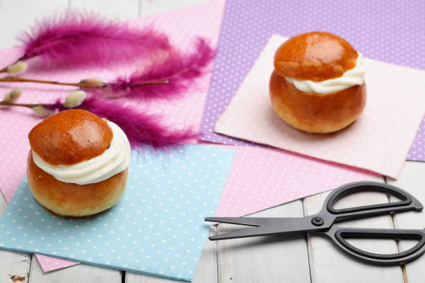 fastelavn decorations and buns - fastelavn stock pictures, royalty-free photos & images