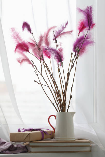 fastelavn decorations on a window sill - fastelavn stock pictures, royalty-free photos & images