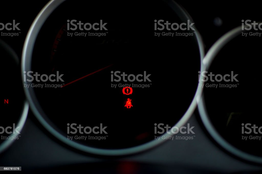 Fasten Seat Belt and hand break sign on gear N stock photo