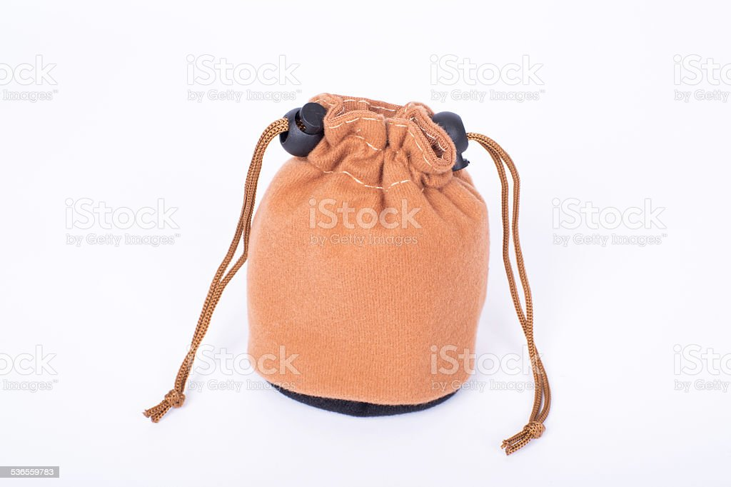 fastened brown flannel bag stock photo