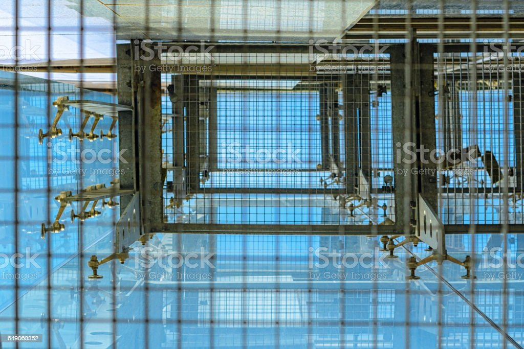 Fasteners Elements of spider glass system stock photo