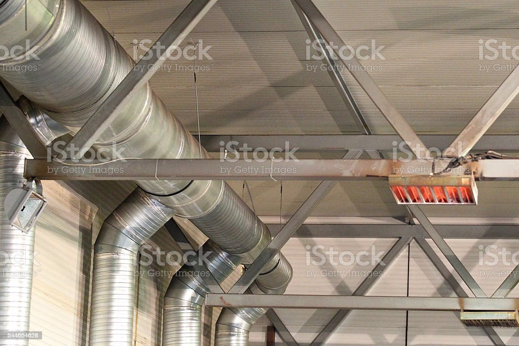fasteners sections of infrared heaters stock photo