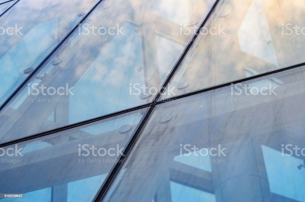 Fastening of Glass on the Facade stock photo