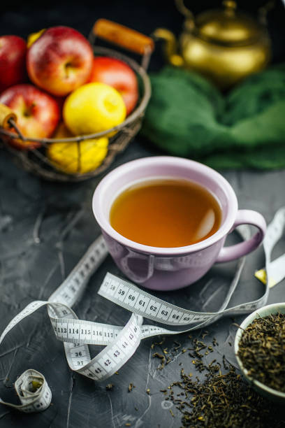 Fasting with tea stock photo