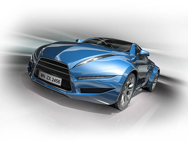 A fast-moving blue and gray sports car stock photo