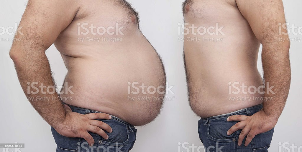 Fat and slim man stock photo