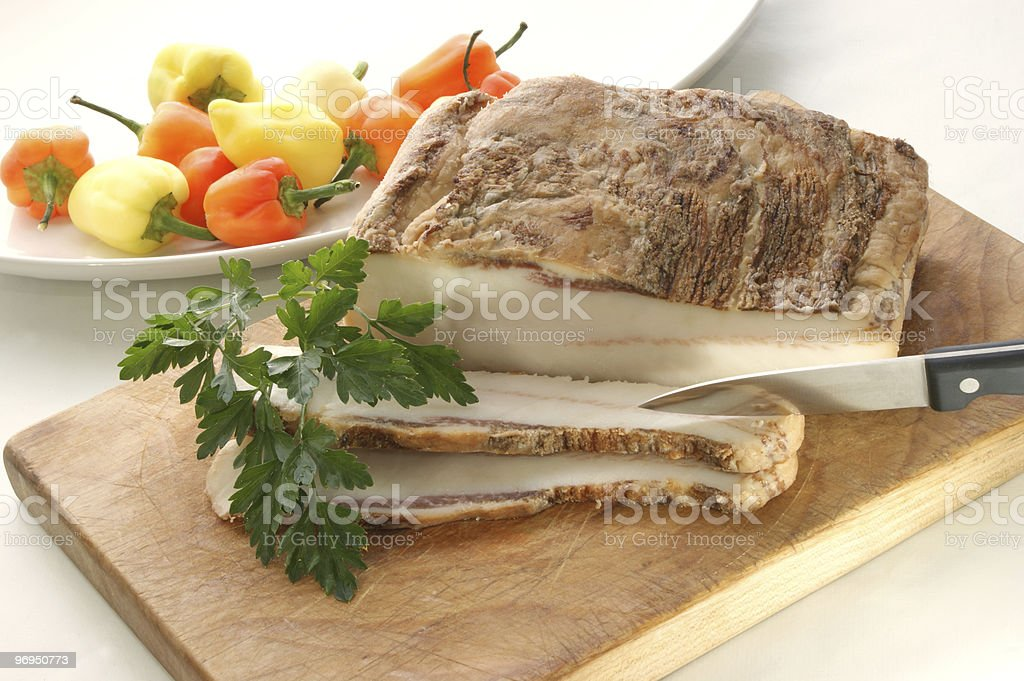 fat bacon on a timberboard royalty-free stock photo