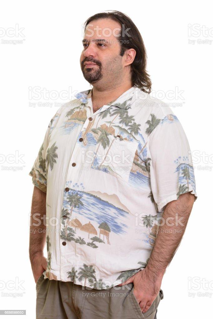 Mira Hombre Gordo Turístico A Barbudo Mientras Un Pensando Lado DIH2EW9eY