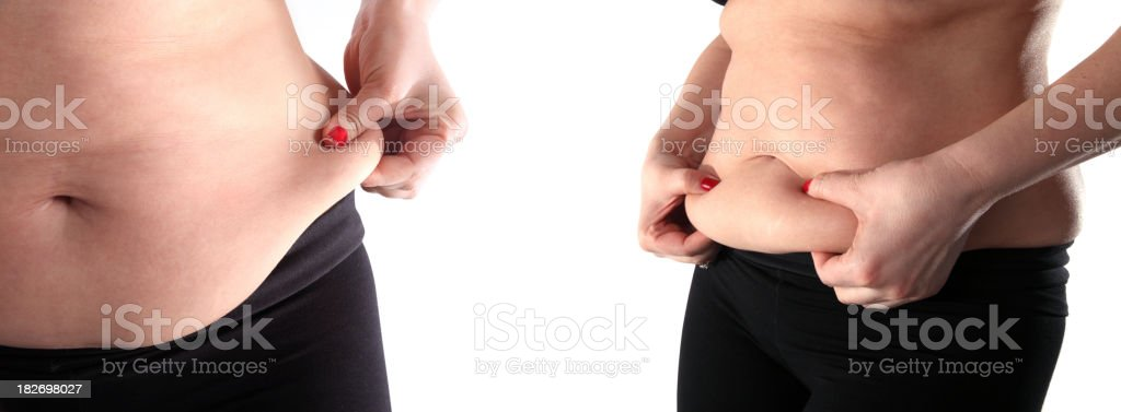 fat belly woman stock photo