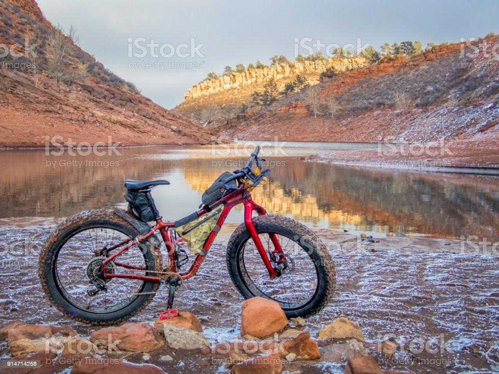 fat bike and Horsetooth Reservoir stock photo