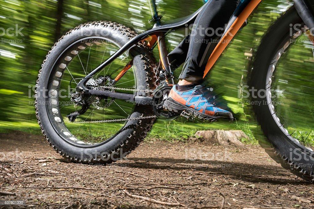 Fat bike in motion stock photo