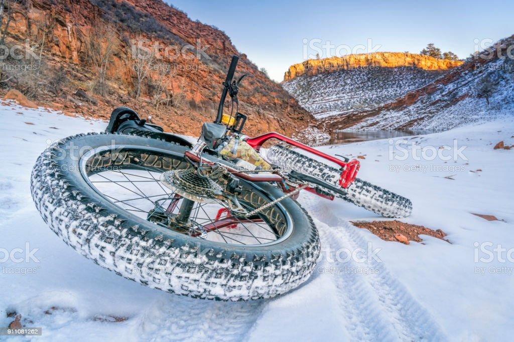 fat bike on winter trail stock photo