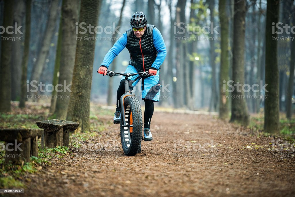 Fat bike rider in the forest stock photo