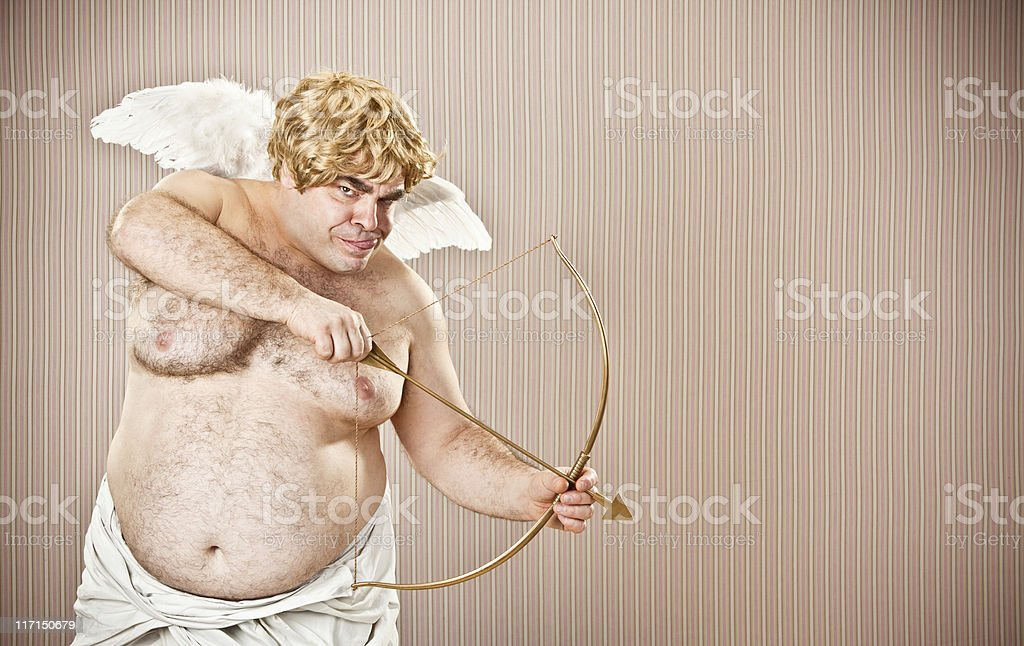 fat blonde cupid with bow and arrow aim for love