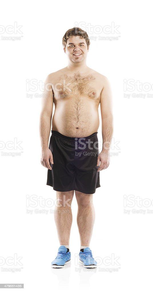 Fat fitness man stock photo