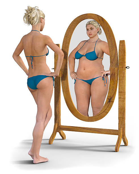 Fat Girl in the Mirror - foto de stock