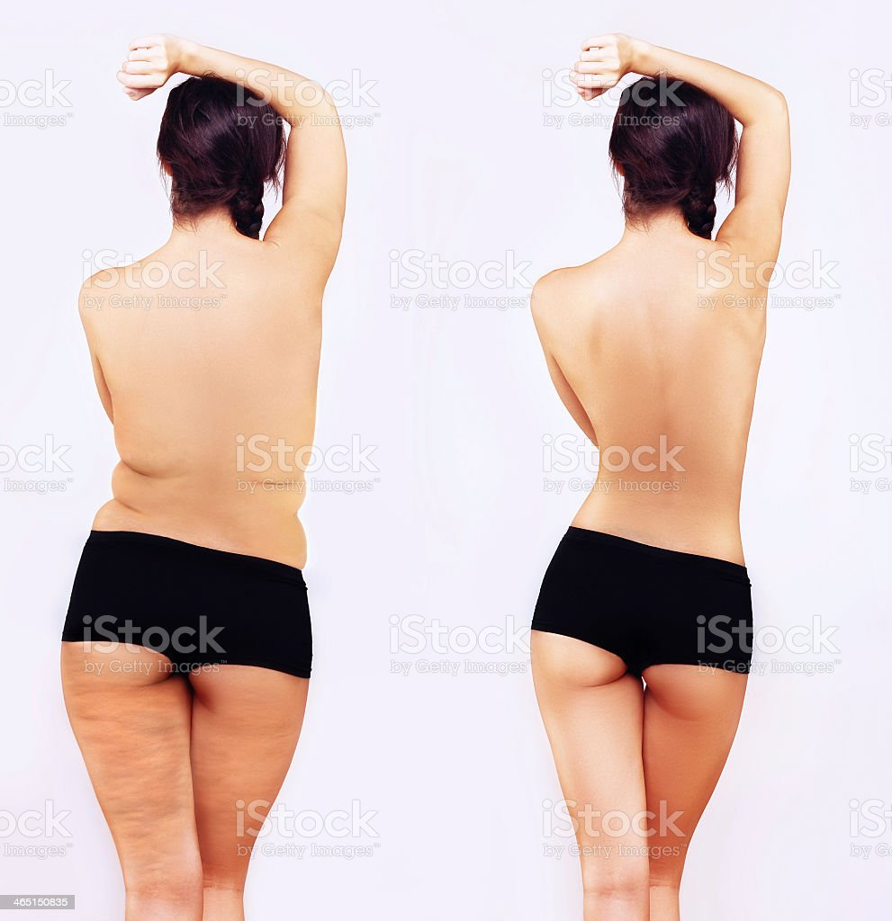 Fat girl standing next to a skinny one royalty-free stock photo