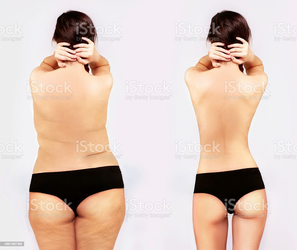 Fat girl standing next to a skinny one stock photo
